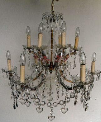 Vintage 12 arm Marie Therese chandelier with hearts and pink drops