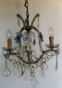 Marie Therese vintage chandelier with blue flowers
