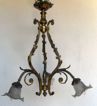3 arm solid brass antique Victorian chandelier