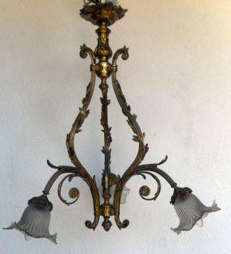 3 arm solid brass antique Victorian chandelier
