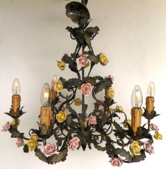 Vintage Italian 6 arm ceramic coloured rose chandelier