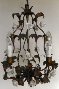 Ceramic white rose vintage chandelier
