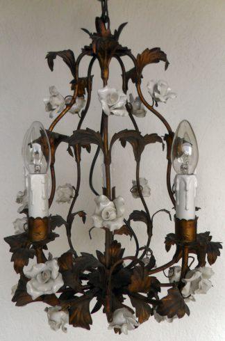 Ceramic white rose vintage chandelier