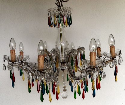 8 arm coloured Marie Therese vintage icicle chandelier