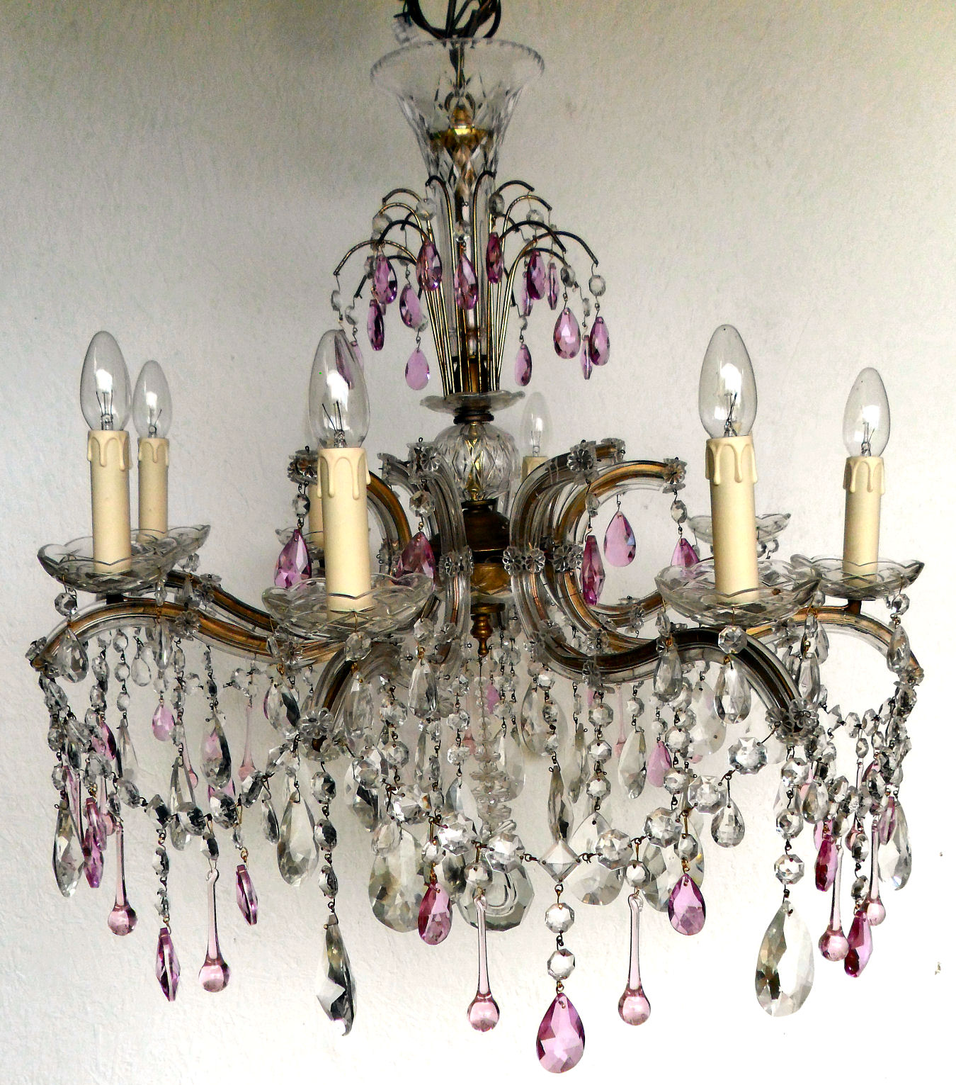 Vintage 8 arm marie therese chandelier with pink drops vintage vintage 8 arm marie therese chandelier mozeypictures Image collections