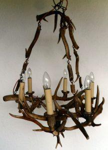 Vintage real antler 6 light chandelier